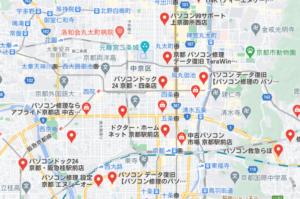 京都のパソコン修理業者の地図