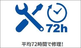 修理時間が平均72時間