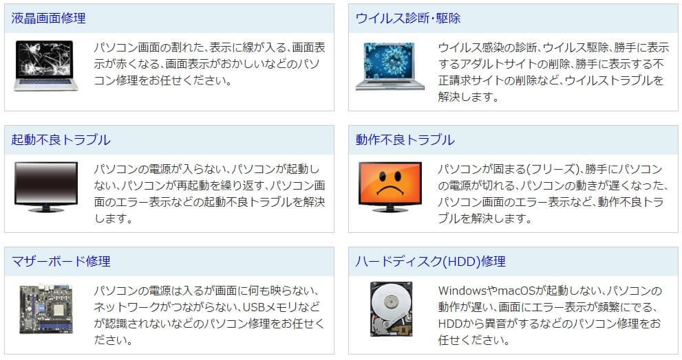 GOGのパソコン修理メニュー-1