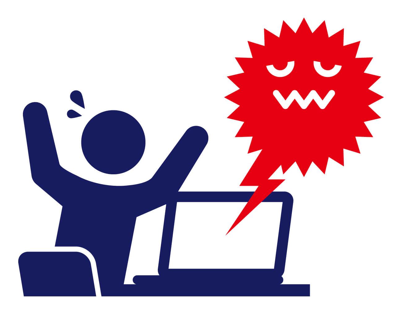 パソコンがウイルスに感染すると起き得る現象