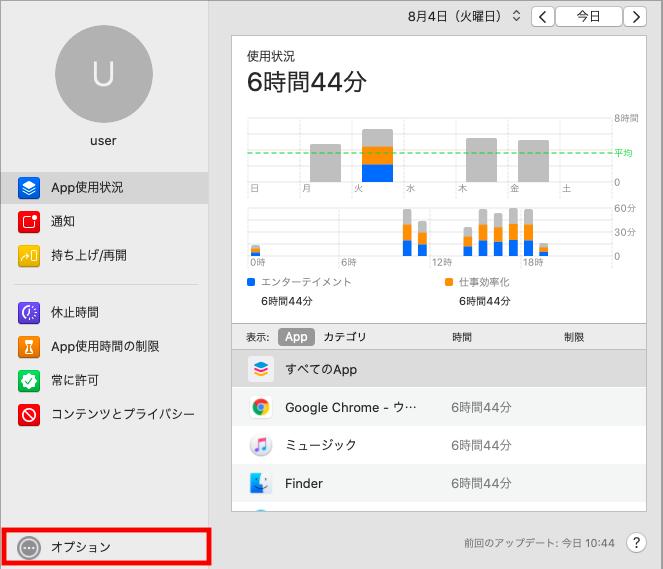 Mac スクリーンタイム機能の時間制限方法2