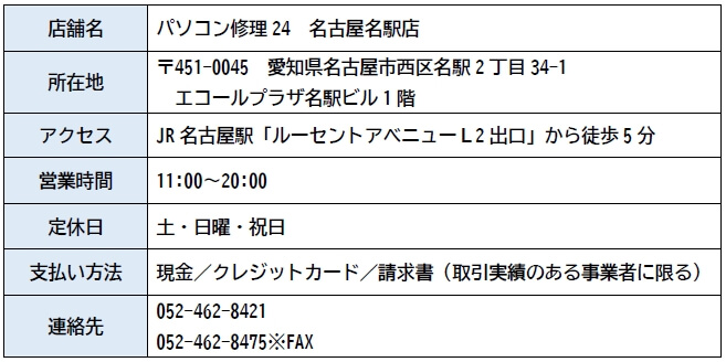 パソコン修理24 名古屋名駅店 店舗情報