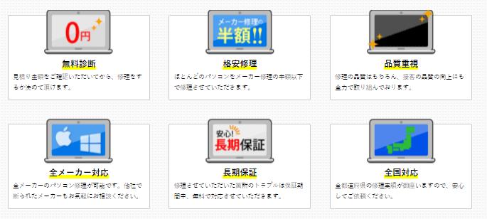 パソコン修理本舗のパソコン修理の6つの特長