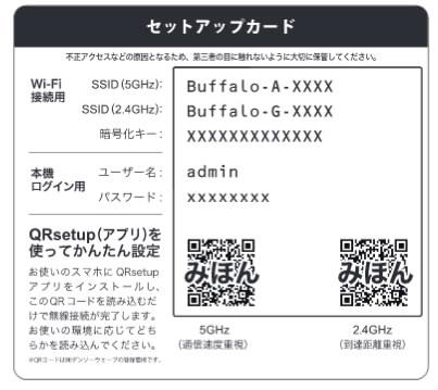 BUFFALOの無線LANのSSIDの一例